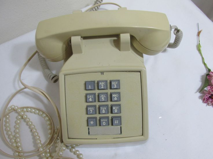 Push Button Telephone Golden Beige Desk Phone by LuRuUniques on Etsy