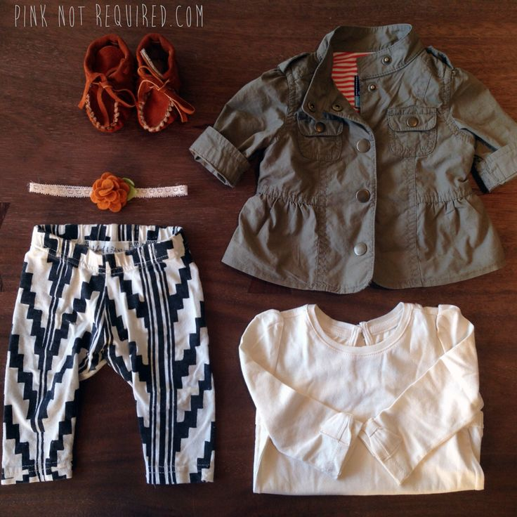 Baby army jacket by old navy, headband by bloomies handmade, baby leggings from thief and bandit, baby moccasins from fashionlovespeople.com, long sleeve onesie by baby gap. Styled by pinknotrequired.com