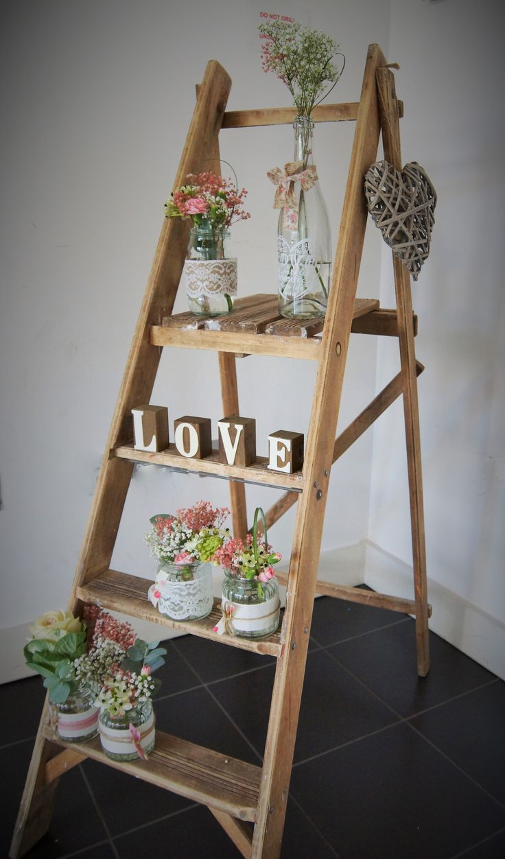We Used Our Vintage Ladder To Welcome Guests Into This Wedding With Little Jam Jars