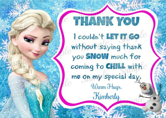 Frozen Thank You Card - Disney Frozen Inspired Thank You Card - Personalized - Printable - Digital - Elsa Olaf Anna - Thank You note on Etsy, $3.88