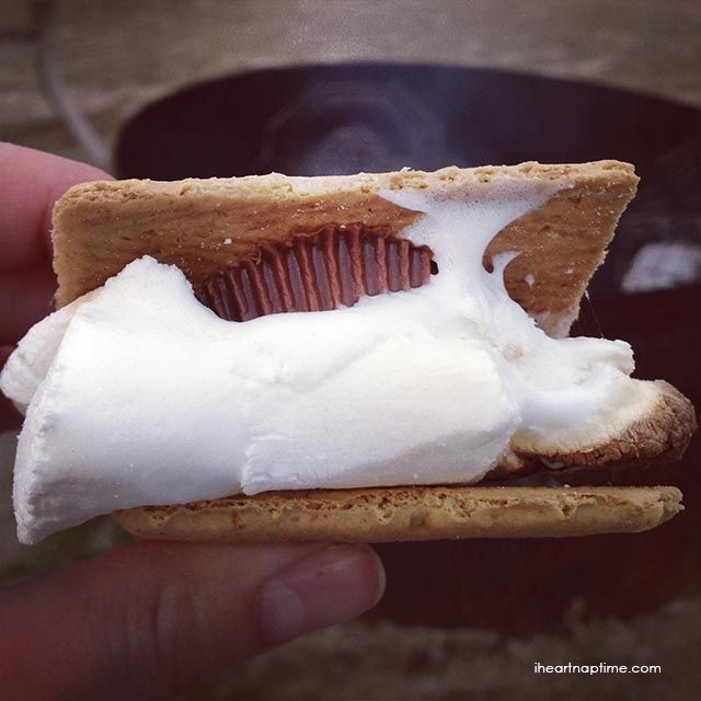 S'mores made with a reeses peanut butter cup... seriously the best!
