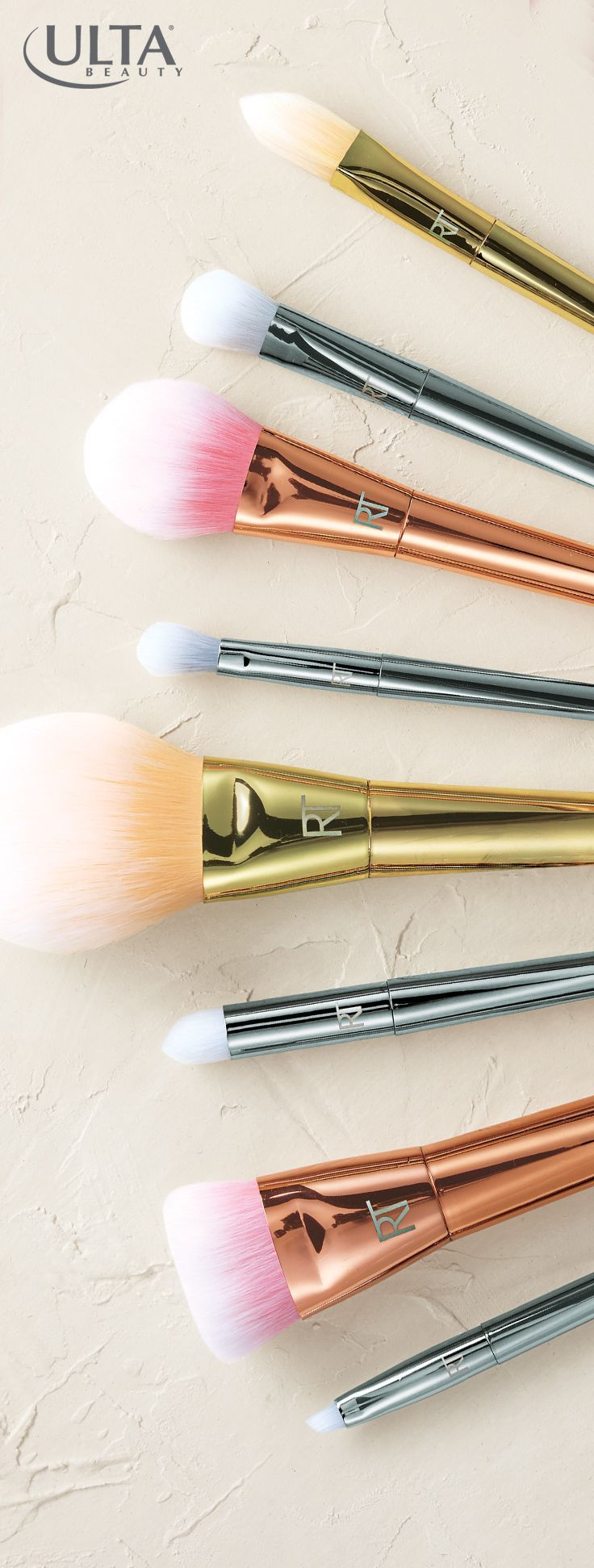 How pretty are these metallic makeup brushes? Putting on makeup gets glam with these Real Techniques brushes from Ulta Beauty.