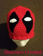 This is my interpretation of a Deadpool Beanie. Pattern has 4 sizes available : Pre-Teen, Adult - small medium & large.