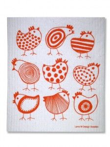 Chick dishcloth.  The motifs would be cute embroidered or made up in felted wool.
