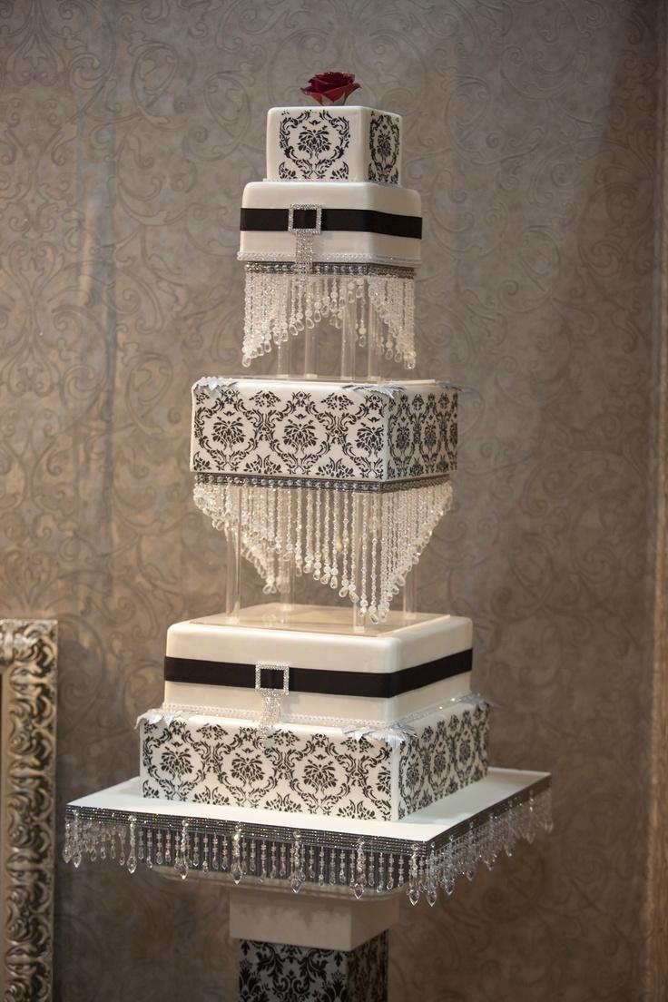 Glamorous wedding cake by The Cake Genie at The Wedding Expo.  http://www.thecakegenie.co.za
