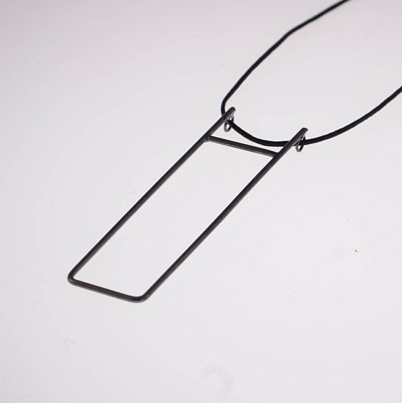 Black necklace rectangle necklace long minimalist necklace