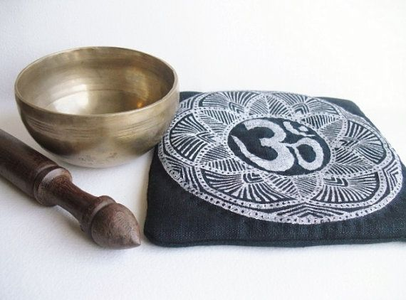 Zen mindfulness meditation  bell mat, Buddhist linen Om singing bowl cushion, hand printed  & embroidered altar / sacred space decor