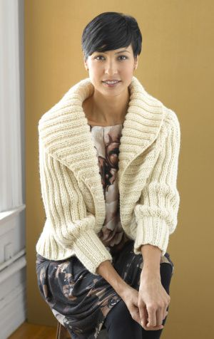 FREE - Soft Rib Cardigan; short-rows are used to shape generous collar.