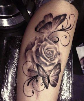 Weisse Rose mit Schmetterlingen Tattoo