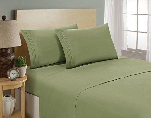 Luxurious Sheets Set 1800 3-Line Collection Brushed Microfiber Deep Pocket Super Soft and Comfortable Hotel Collection Sheets by Bellerose - Full, Sage