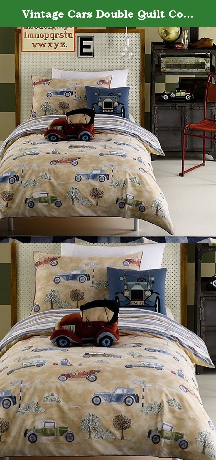 Vintage Cars Double Quilt Cover Set. In the late 19th century inventors competed against each other to replace the horse with a vehicle that could go further and faster. By the end of the first decade of the 20th century the motor car had evolved into an elegant and reliable form of transport. This 'Vintage Cars' design depicts some of the finest examples of motor cars from the early days of the motor industry. Can you spot the famous Model T Ford? Honk honk!.