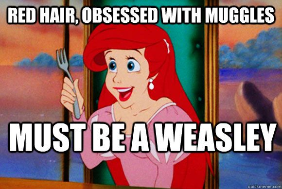 red hair obsessed with muggles must be a weasley - Disney Logic