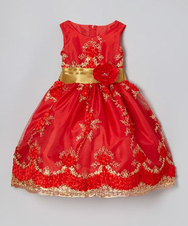 Red and gold toddler dresses