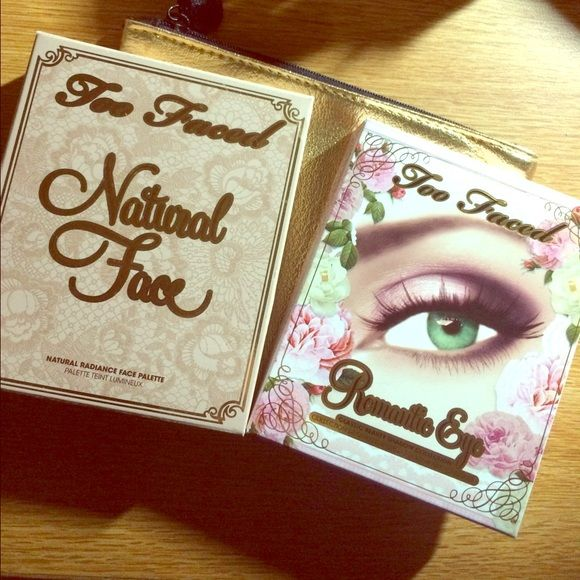 Too Faced Palettes Too Faced Romantic Eye palette and Natural Face palette! Both have only been used once. both beautiful palettes, sad to let them go but i just wasn't reaching for them. $45 for both or $25 each Too Faced Makeup Eyeshadow