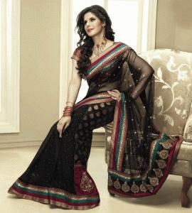 Black Color Net And Viscose Indian Saree