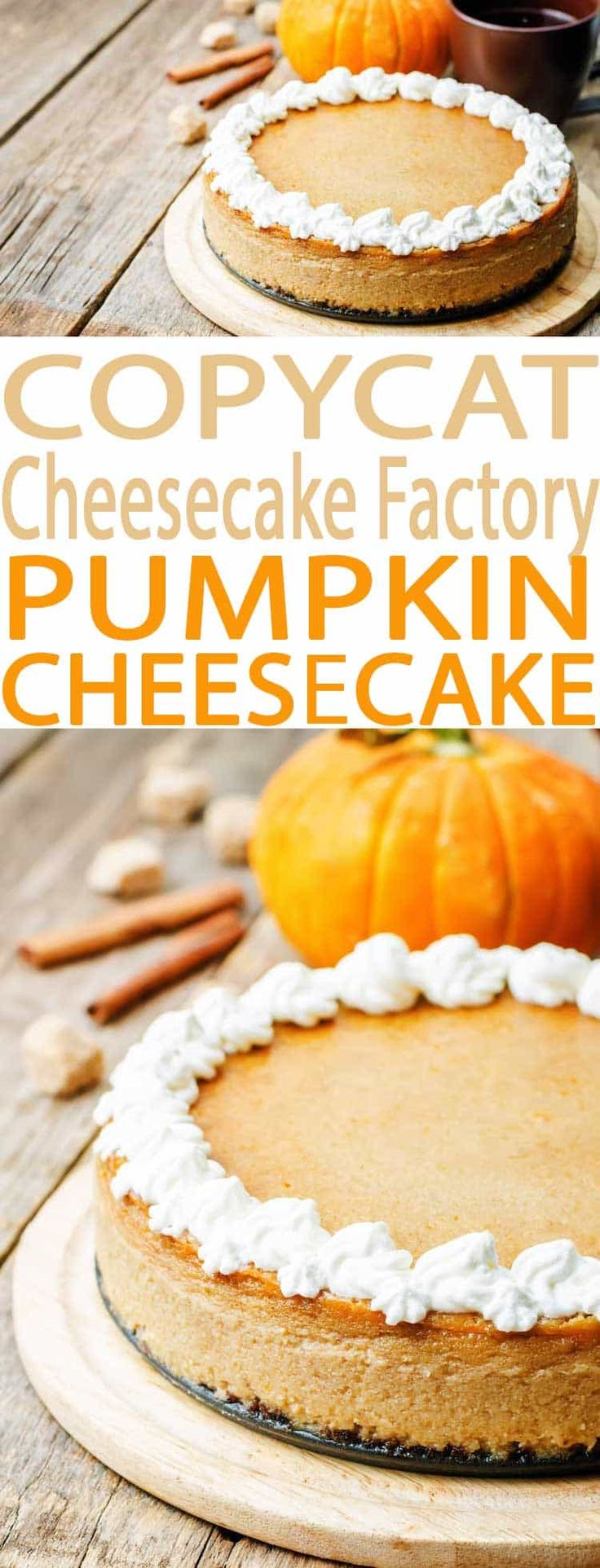 Pumpkin Cheesecake: A Cheesecake Factory menu favorite, this Copycat Cheesecake Factory Pumpkin Cheesecake recipe is easy to make at home. The best pumpkin pie cheesecake!