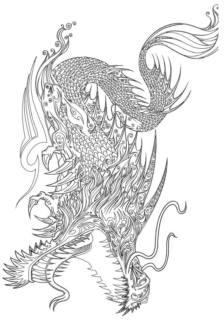 1000 id es sur le th me tatouages de dragon chinois sur - Dragon a colorier ...