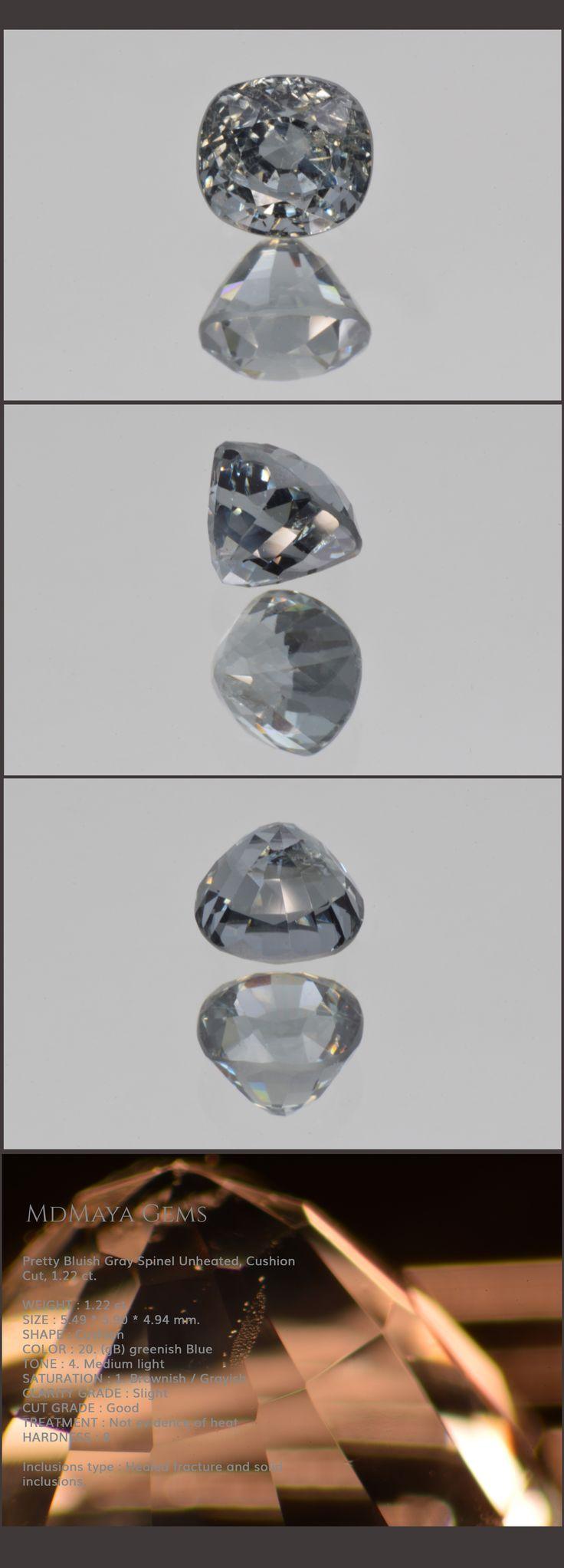 Pretty Bluish Grey Spinel Unheated, Cushion Cut, 1.22 ct. Loose Gemstones for sale MdMaya Gems