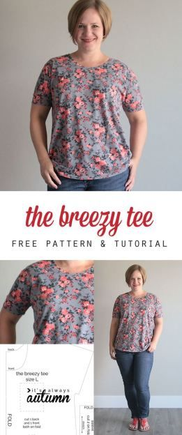 free women's t-shirt sewing pattern and tutorial - this looks so easy, I bet I could make it! cute, too.