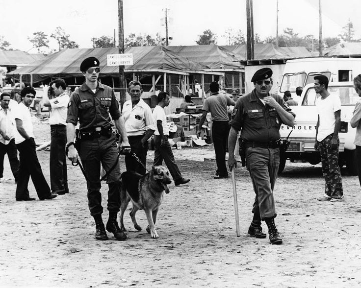This April 1980 file photo shows the Cuban refugee camp set up at Eglin Air Force Base following the Mariel Boatift. The camp was located at the fairgrounds on Lewis Turner Boulevard in Fort Walton Beach.