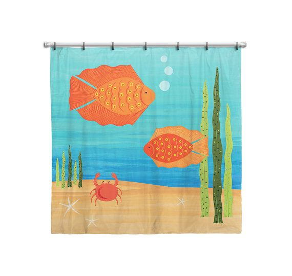 Shower Curtain for Kids Bathroom from Hand Painted by Coolisart
