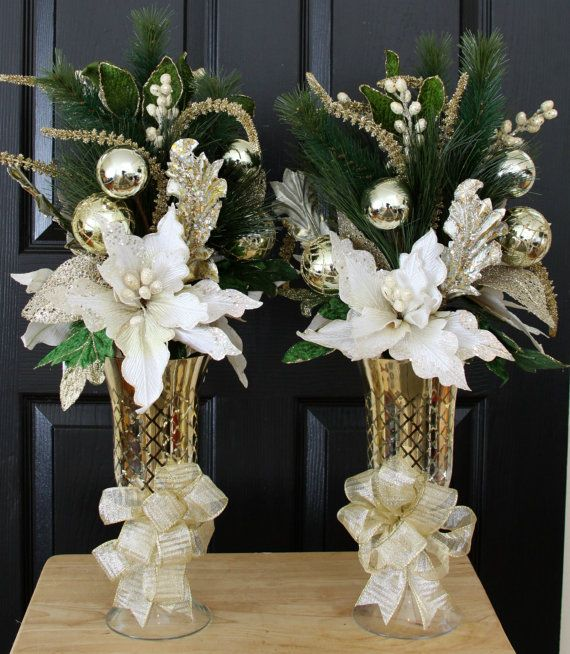 White & Gold Poinsettia Christmas Centerpiece, Home Christmas Centerpiece, Christmas Table Centerpiece