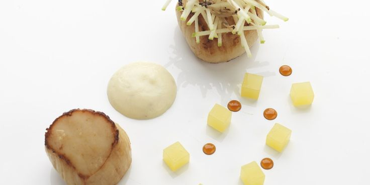 Scallops are paired with earthy celeriac in this exquisite dish from world-renowned chef, Daniel Clifford