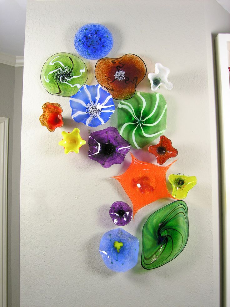 Blown glass flower wall art kitchen pinterest for Glass wall art