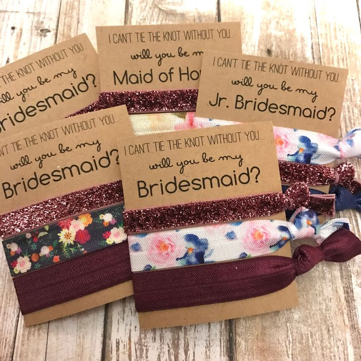 Will you be my Bridesmaid   Bridesmaid Proposal   Bridesmaid Hair Tie Favors   To have and to hold your hair back  Rose Gold