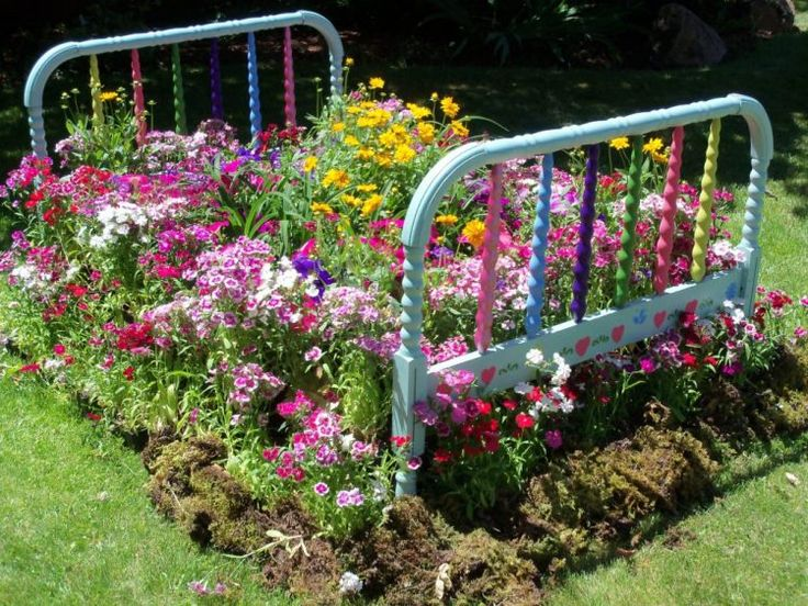 flower bed made from old bed