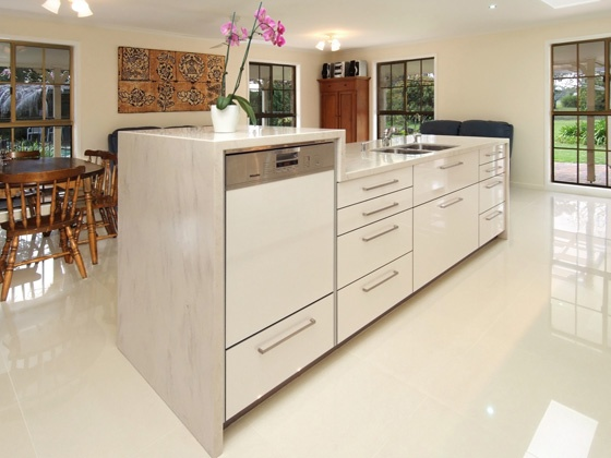 A Miele integrated dishwasher raised off the floor - ideal for people with back problems.