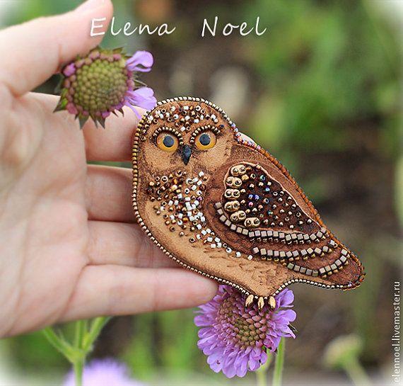 Little owl brooch. Bead Embroidery Art by ElenNoel on Etsy