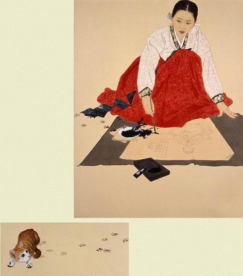 그림과 글이 있는 블로그 :: 신선미 작가의 신선한 그림   신선미_천적_장지에 채색_2005