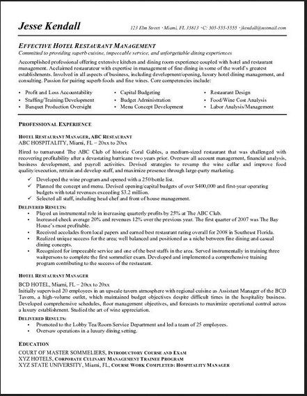 Fine Dining Server Resumes Volumetrics Co Restaurant Server Experience Resume  Examples Restaurant Manager Work Experience Resume
