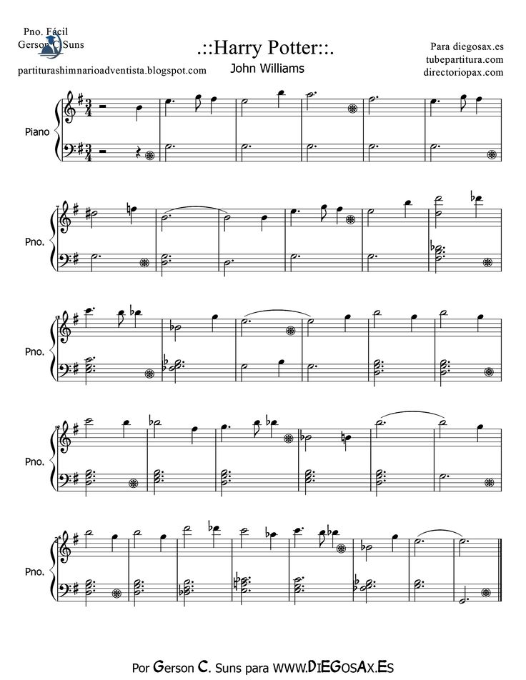 tubescore: Harry Potter by John Williams Easy sheet music for piano music score