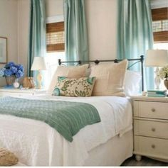 Neutral bedroom with pops of color...love it because when you want an update, just change the pop of color!