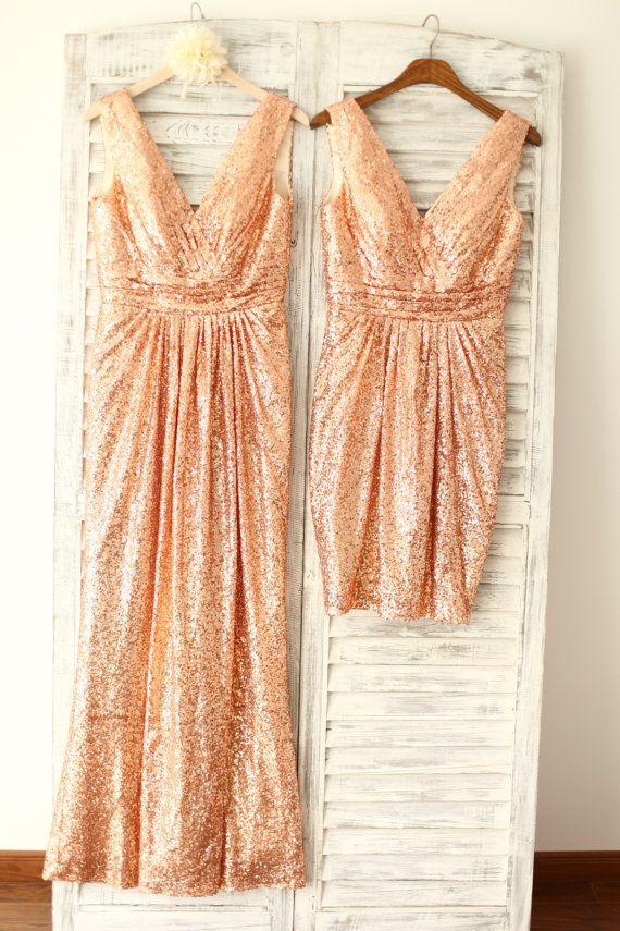Did someone say sparkle? Rose Gold Champagne Sequin Deep V Back