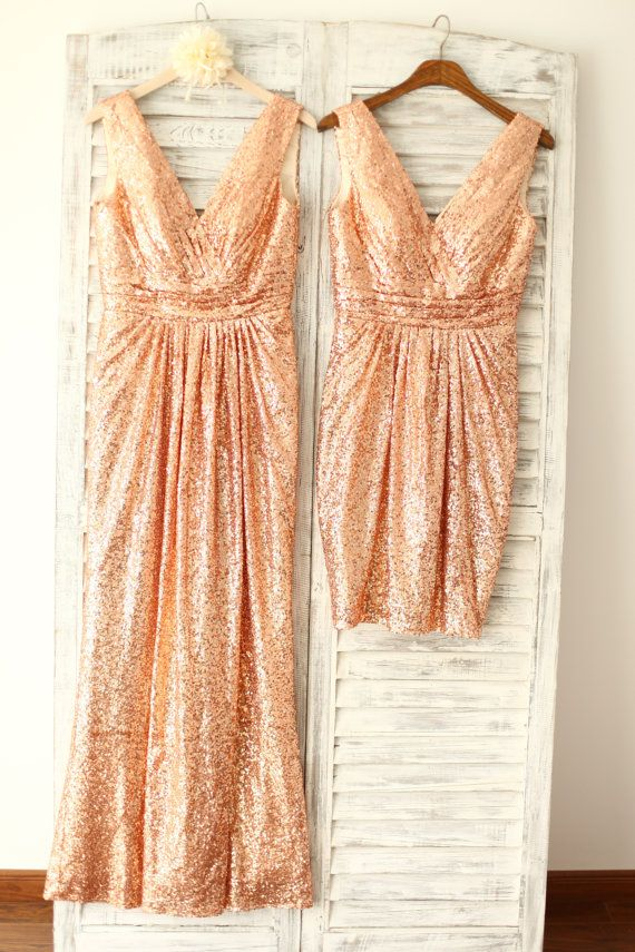 Did someone say sparkle? Rose Gold Champagne Sequin Deep V Back