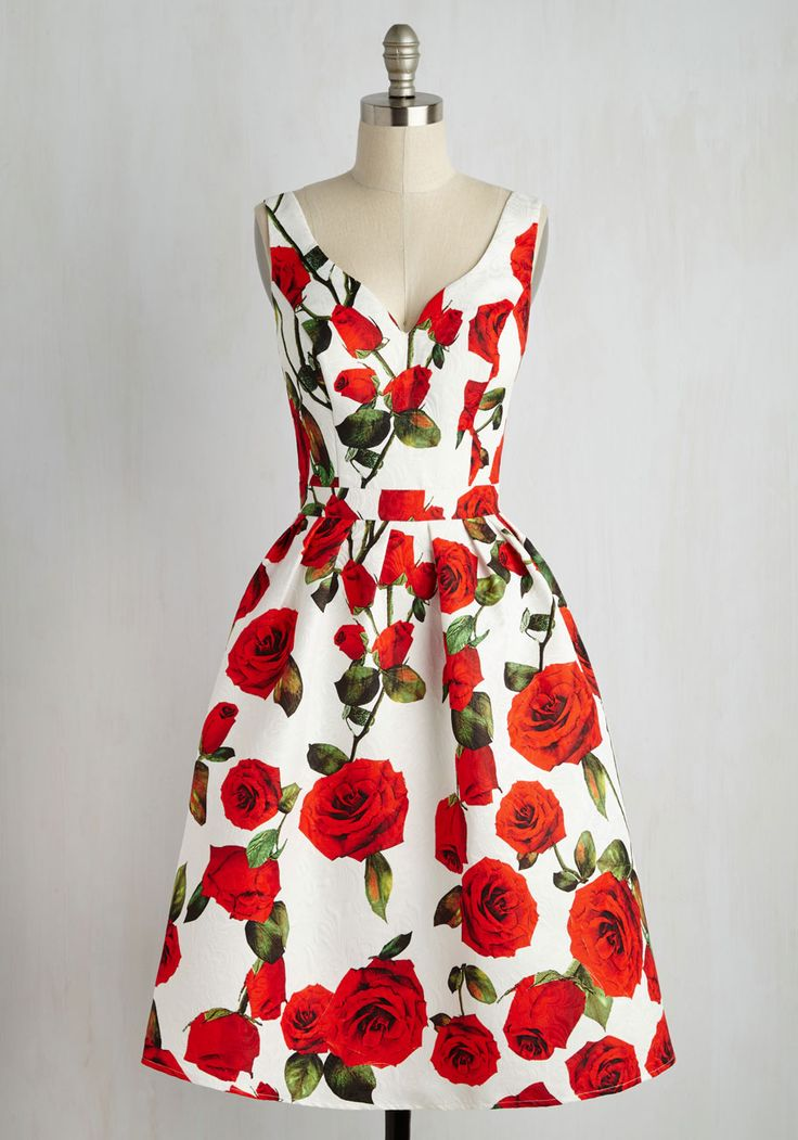 High Tea Time Dress. The perfect time has arisen to wear this floral midi dress and, my, how you match the decorous gathering perfectly.  #modcloth