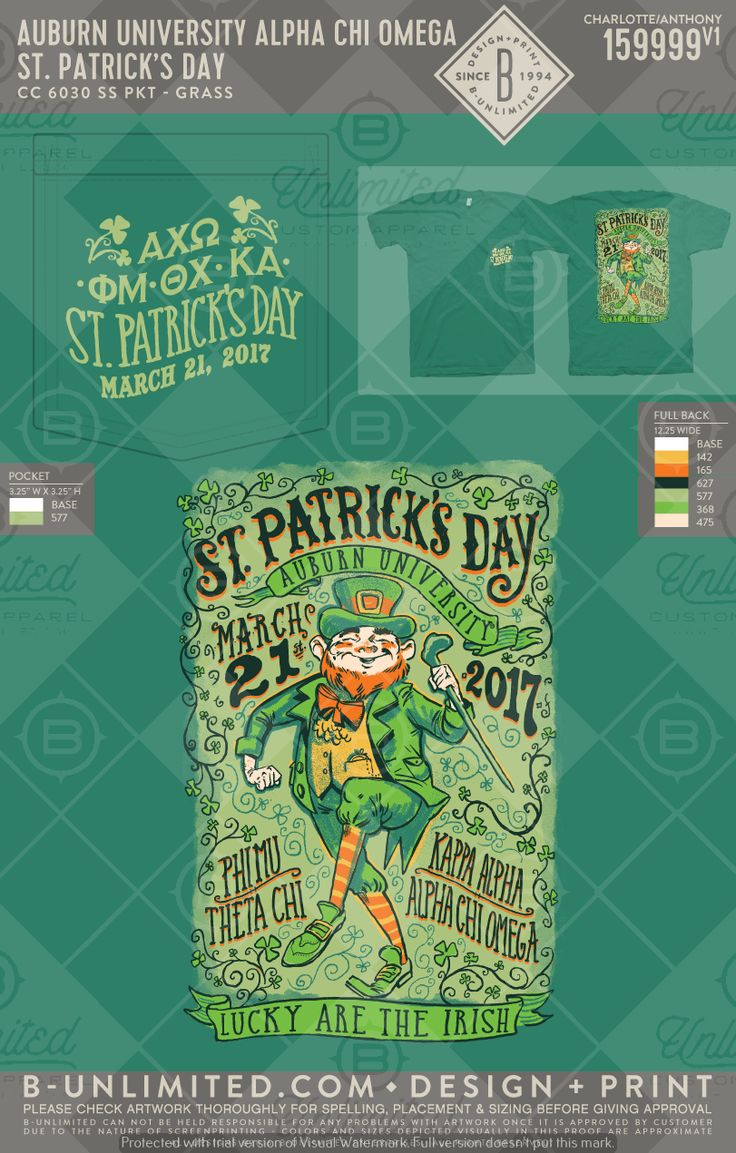 Luck of the Irish! Auburn- Alpha Chi Omega #BUonYOU #greek #greektshirts #greekshirts #sorority #fraternity #AlphaChiOmega #AChiO #AXO #PhiMu #KappaAlpha #KA #functions #mixers