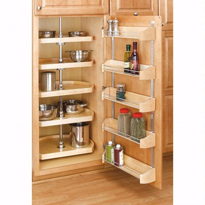 Kitchen Design - Ideas and Picture - Kitchen Storage : Stylish Pantry Door Storage Unit With Stainless Steel Mount Bracket For Door Rack Also Lazy Susan Pantry Organizers
