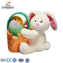 Promotional easter rabbit basket gift with egg toy wholesale soft plush easter basket