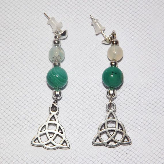Triquetra and Agate Gemstone Earrings  Green   by KasumiCrafts
