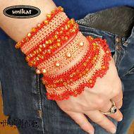 Armband,Damenschmuck,Trachtenschmuck,Oktoberfest,Dirndl,Unikat,gehäkelt,Perlen