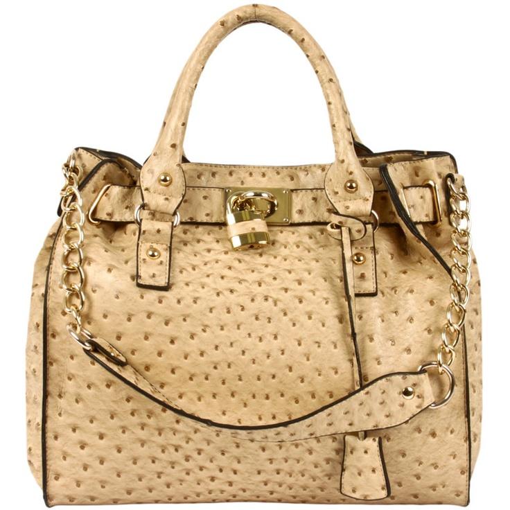 Faux Ostrich Oversized Handbag