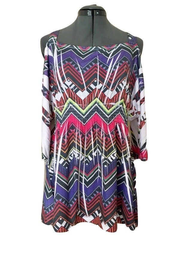 14a640f03da04 Yummy Plus Size 1 X Top Multicolor Abstract Cold Shoulder Pleated Pullover   Yummy  ColdShoulder  Casual