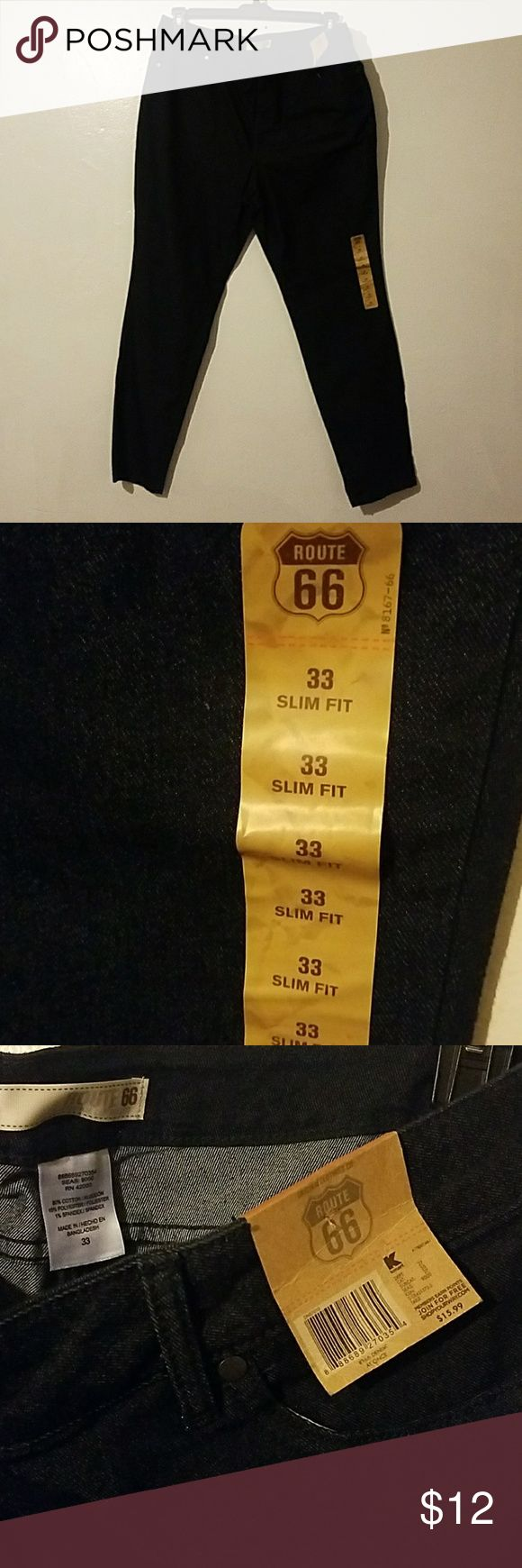 Women's Size 33 Route66 Jeans Slim Fit Size 33 (which is converted to a 15/16 or a 14). Slim fit. Brand New, never worn, very deep indigo blue. It almost looks black. Jeans Skinny