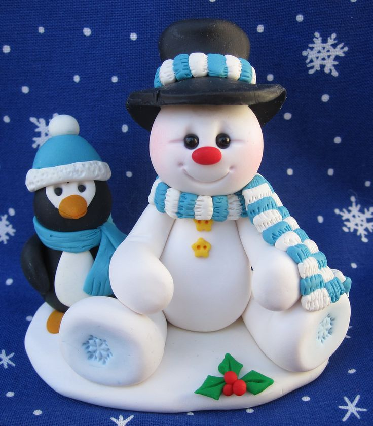 """2 1/2"""" tall snowman and penguin polymer clay scene"""