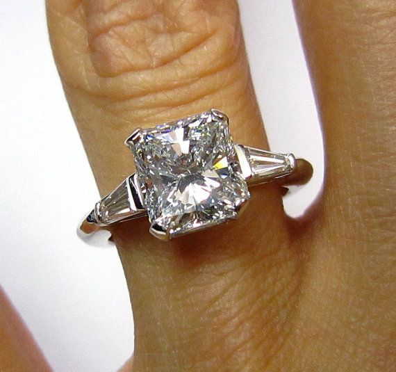 Items similar to Reserved....2.58ct Estate RADIANT Cut Diamond Engagement Ring in Authentic Boucheron Setting EGL USA  in Platinum with Baguettes on Etsy