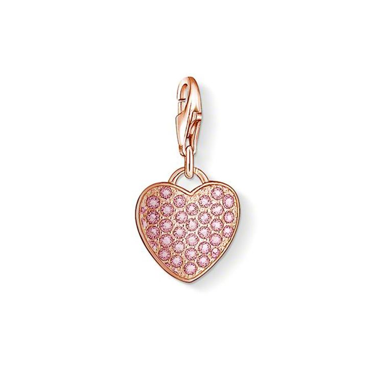 .925 Sterling silver Rose gold Heart charm, with the easy lobster clasp to fasten onto your charm bracelet or necklace.